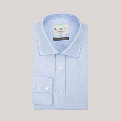 Blue End on End Button Cuff Shirt