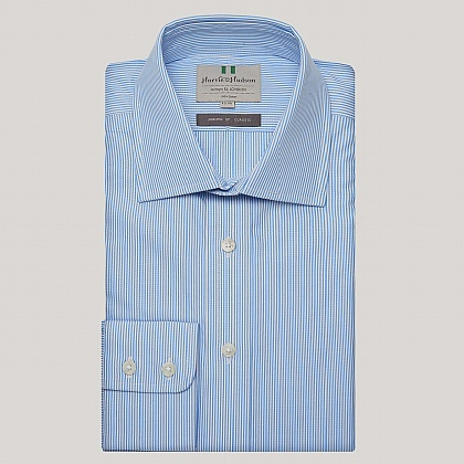 Blue Pencil Stripe Poplin Button Cuff Shirt