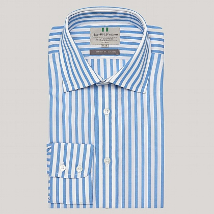 Blue Butcher Stripe Poplin Button Cuff Shirt