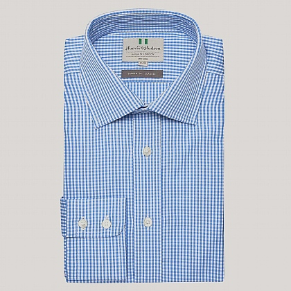 Blue Gingham Poplin Button Cuff Shirt