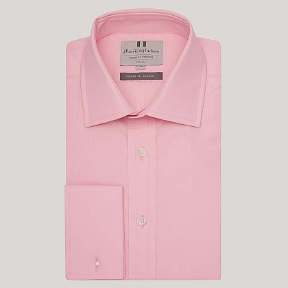 Pale Pink Plain Poplin Double Cuff Shirt