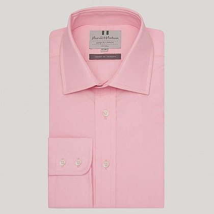 Pale Pink Plain Poplin Button Cuff Shirt