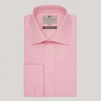 Pale Pink Plain Poplin Slim Fit Shirt
