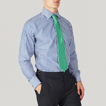 Colbalt Blue Striped Cotton Classic Double Cuff Shirt