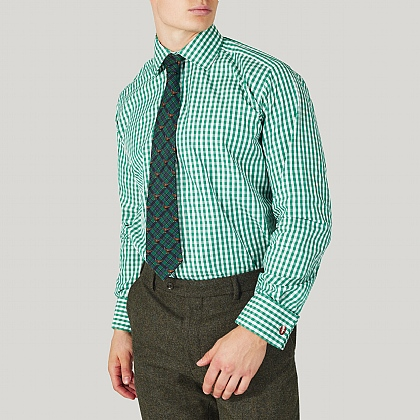 Green Gingham Cotton Classic Double Cuff Shirt