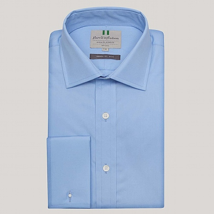 Azure Plain Poplin Slim Fit Shirt