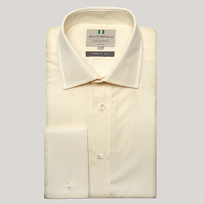 Cream Plain Poplin Slim Fit Shirt