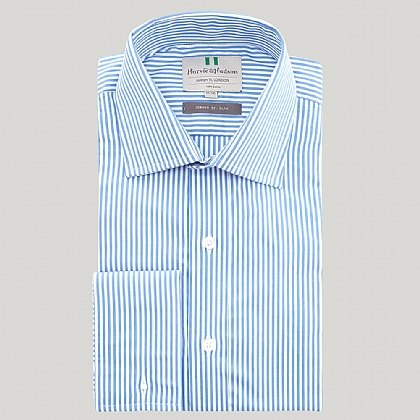 Blue Bengal Stripe Poplin Slim Fit Shirt
