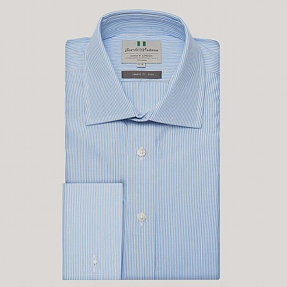 Blue Pencil Stripe Poplin Slim Fit Shirt