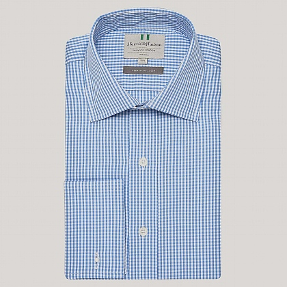 Blue Gingham Poplin Slim Fit Shirt