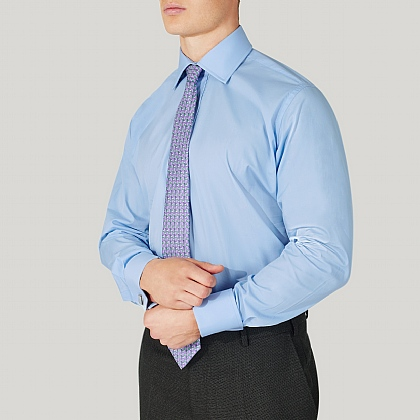 Azure Plain Poplin Double Cuff Shirt