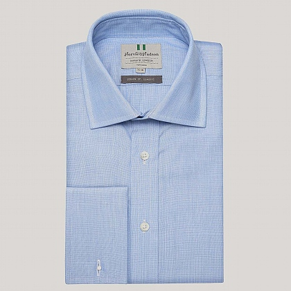 Blue End on End Double Cuff Shirt