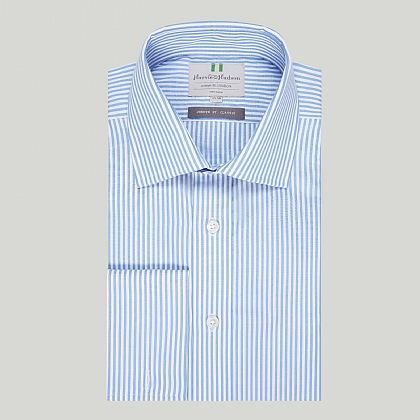 Blue Bengal Stripe Poplin Double Cuff Shirt