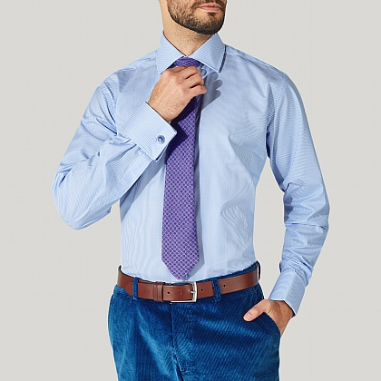 Blue Pencil Stripe Poplin Double Cuff Shirt