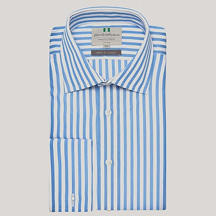 Blue Butcher Stripe Poplin Double Cuff Shirt
