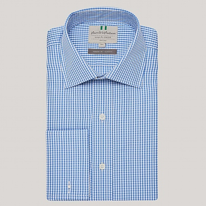 Blue Gingham Poplin Double Cuff Shirt