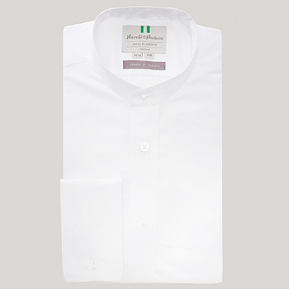 White Plain Poplin Neckband Shirt