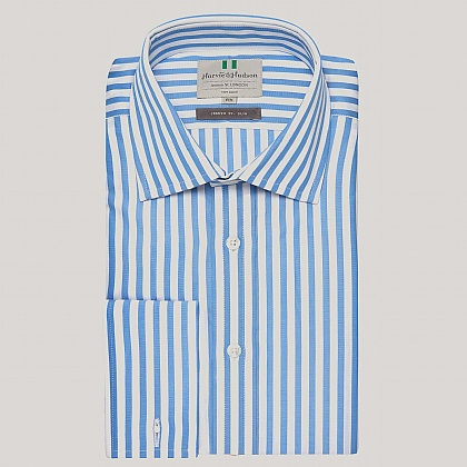 Blue Butcher Stripe Poplin Slim Fit Shirt