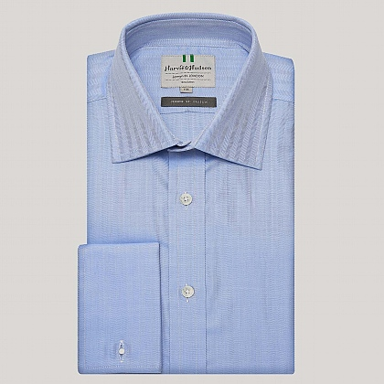 Blue Narrow Herringbone Double Cuff Shirt