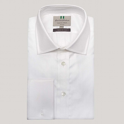 White Narrow Herringbone Slim Fit Shirt