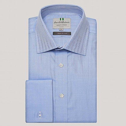 Blue Narrow Herringbone Slim Fit Shirt