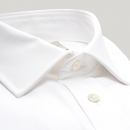White Narrow Herringbone Double Cuff Shirt