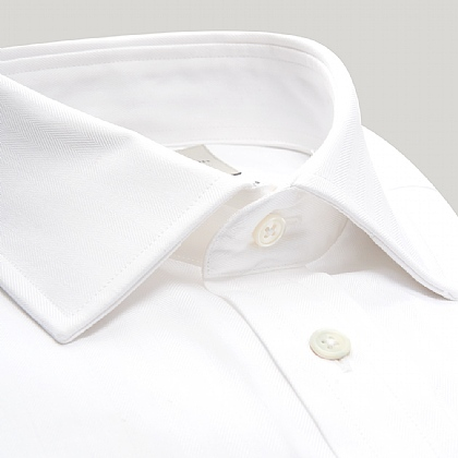 White Narrow Herringbone Button Cuff Shirt