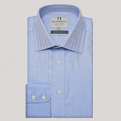 Blue Narrow Herringbone Button Cuff Shirt