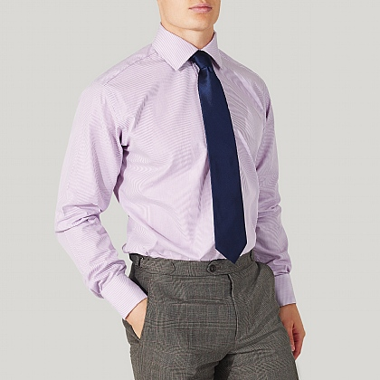 Lilac Pencil Stripe Classic Double Cuff Shirt