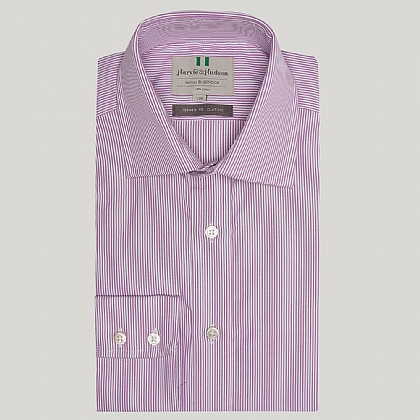 Lilac Pencil Stripe Button Cuff Shirt