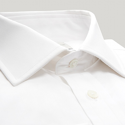 White Plain Poplin Slim Fit Button Cuff Shirt