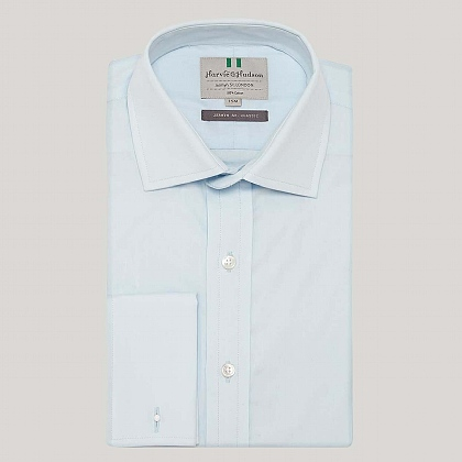 Ice Blue Plain Poplin Double Cuff Shirt