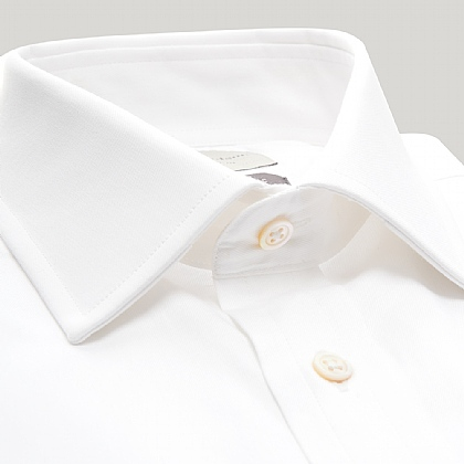White Fine Twill Double Cuff Shirt