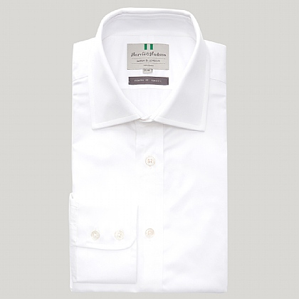 White Fine Twill Button Cuff Shirt