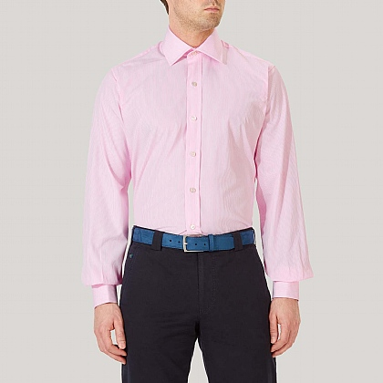 Pink Pencil Stripe Double Cuff Classic Fit Shirt
