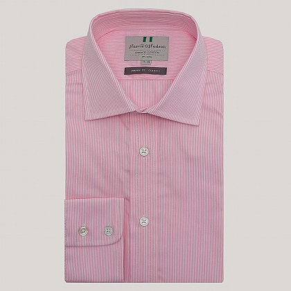 Pink Pencil Stripe Button Cuff Classic Fit Shirt