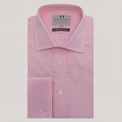 Pink Pencil Stripe Double Cuff Slim Fit Shirt