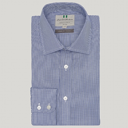 Navy Mini Gingham Button Cuff Classic Fit Shirt