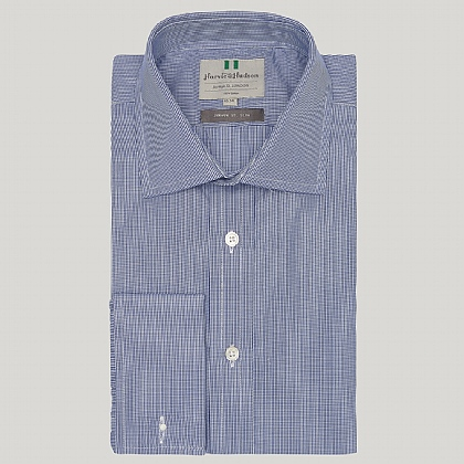 Navy Mini Gingham Double Cuff Slim Fit Shirt