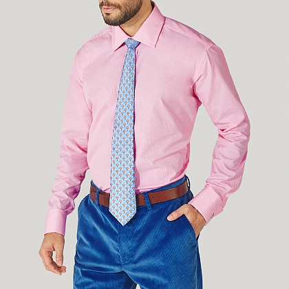 Pink Mini Gingham Double Cuff Classic Fit Shirt