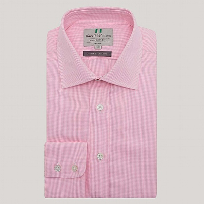 Pink Mini Gingham Button Cuff Classic Fit Shirt