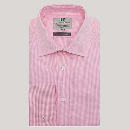 Pink Mini Gingham Double Cuff Slim Fit Shirt