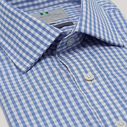 Blue Medium Gingham Double Cuff Classic Fit Shirt