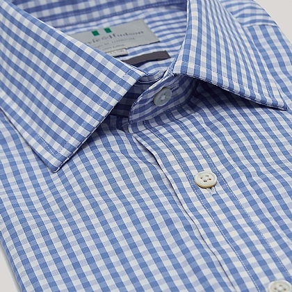 Blue Medium Gingham Button Cuff Classic Fit Shirt