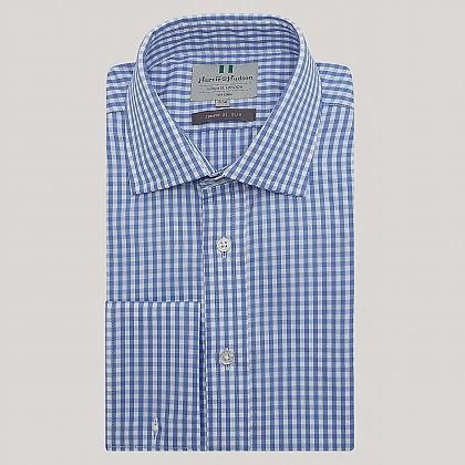 Blue Medium Gingham Double Cuff Slim Fit Shirt