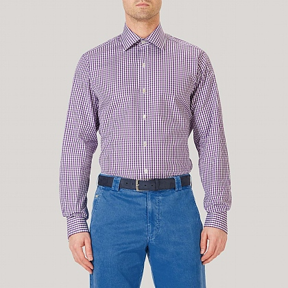 Purple Medium Gingham Double Cuff Classic Fit Shirt