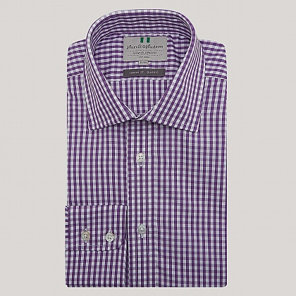 Purple Medium Gingham Button Cuff Classic Fit Shirt