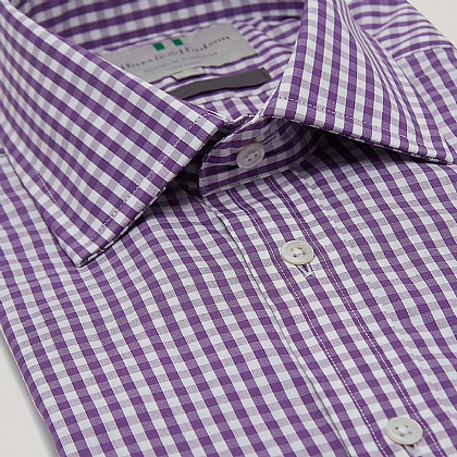 Purple Medium Gingham Double Cuff Slim Fit Shirt