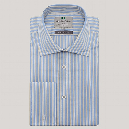 Blue and Yellow Stripe Double Cuff Slim Fit Shirt