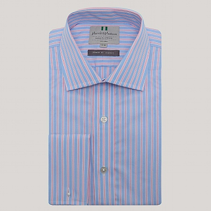 Blue and Pink Stripe Double Cuff Classic Fit Shirt